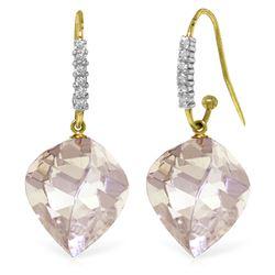 Genuine 25.78 ctw White Topaz & Diamond Earrings Jewelry 14KT Yellow Gold - REF-66W2Y