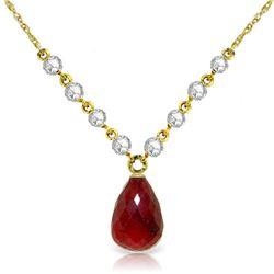 Genuine 15.6 ctw Ruby & Diamond Necklace Jewelry 14KT Yellow Gold - REF-139H8X