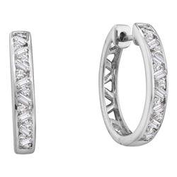 0.50 CTWDiamond Hoop Earrings 14KT White Gold - REF-67W4K
