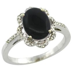 Natural 1.89 ctw Onyx & Diamond Engagement Ring 14K White Gold - REF-36X7A