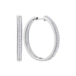 1 CTW Diamond Hoop Earrings 10KT White Gold - REF-75F2N