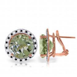 Genuine 10.40 ctw Amethyst, White & Black Diamond Earrings Jewelry 14KT Rose Gold - REF-122R4P