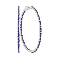 3.53 CTW Blue Sapphire Large Slender In/Out Hoop Earrings 14KT White Gold - REF-142Y4X