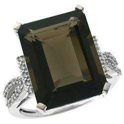 Natural 12.14 ctw Smoky-topaz & Diamond Engagement Ring 10K White Gold - REF-53V2F