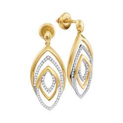 0.35 CTW Diamond Dangle Earrings 10KT Yellow Gold - REF-37K5W