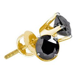 3 CTW Black Color Diamond Solitaire Earrings 10KT Yellow Gold - REF-48N7F