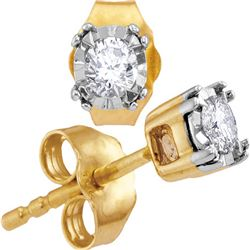 0.17 CTW Diamond Solitaire Stud Earrings 10KT Yellow Gold - REF-19K4W