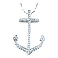 0.15 CTW Diamond Anchor Nautical Ocean Pendant 10KT White Gold - REF-18M2H