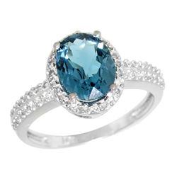Natural 1.91 ctw London-blue-topaz & Diamond Engagement Ring 14K White Gold - REF-41F7N