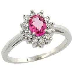 Natural 0.67 ctw Pink-topaz & Diamond Engagement Ring 10K White Gold - REF-38R8Z