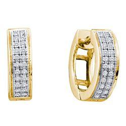 0.15 CTW Diamond Double Row Huggie Hoop Earrings 10KT Yellow Gold - REF-20F9N