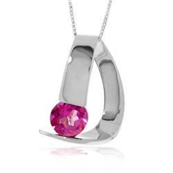 Genuine 1 ctw Pink Topaz Necklace Jewelry 14KT White Gold - REF-50T7A
