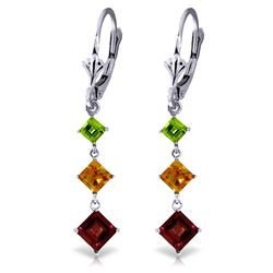 Genuine 4.8 ctw Garnet, Citrine & Peridot Earrings Jewelry 14KT White Gold - REF-49Y3F