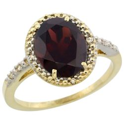 Natural 2.42 ctw Garnet & Diamond Engagement Ring 10K Yellow Gold - REF-28M4H