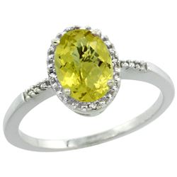 Natural 1.2 ctw Lemon-quartz & Diamond Engagement Ring 14K White Gold - REF-22K8R