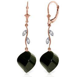 Genuine 31.02 ctw Black Spinel & Diamond Earrings Jewelry 14KT Rose Gold - REF-53F4Z