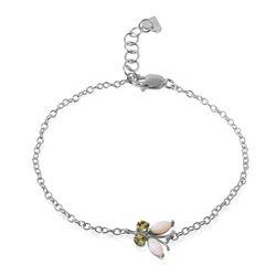 Genuine 0.60 ctw Opal & Peridot Bracelet Jewelry 14KT White Gold - REF-42X9M