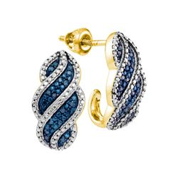 0.10 CTW Blue Color Diamond J Half Hoop Earrings 10KT Yellow Gold - REF-26X9Y
