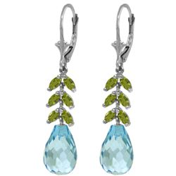 Genuine 11.20 ctw Blue Topaz & Peridot Earrings Jewelry 14KT White Gold - REF-56F2Z