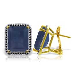 Genuine 13.2 ctw Sapphire & Black Diamond Earrings Jewelry 14KT Yellow Gold - REF-191K7V
