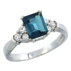 Natural 1.48 ctw london-blue-topaz & Diamond Engagement Ring 10K White Gold - REF-43W5K
