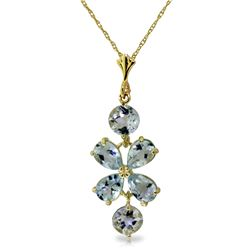 Genuine 3.15 ctw Aquamarine Necklace Jewelry 14KT Yellow Gold - REF-39R3P