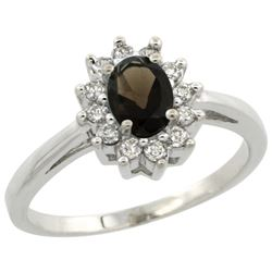 Natural 0.67 ctw Smoky-topaz & Diamond Engagement Ring 14K White Gold - REF-48N6G