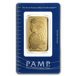 Genuine 1 oz 0.9999 Fine Gold Bar - PAMP Suisse Lady Fortuna