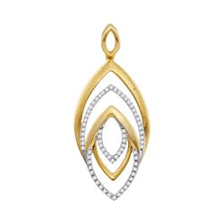 0.20 CTW Diamond Geometric Oval Pendant 10KT Yellow Gold - REF-25N4F