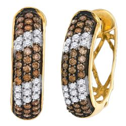 1.02 CTW Cognac-brown Color Diamond Hoop Earrings 10KT Yellow Gold - REF-64W4K