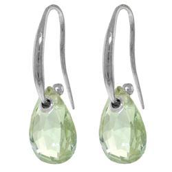 Genuine 8 ctw Green Amethyst Earrings Jewelry 14KT White Gold - REF-36T8A