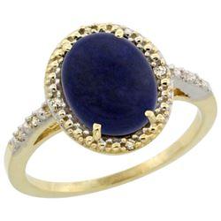 Natural 2.52 ctw Lapis & Diamond Engagement Ring 14K Yellow Gold - REF-32N5G