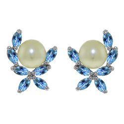 Genuine 3.25 ctw Blue Topaz Earrings Jewelry 14KT White Gold - REF-30W2Y
