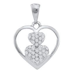 0.15 CTW Diamond Nested Heart Cluster Pendant 10KT White Gold - REF-12X2Y