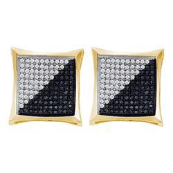 0.75 CTW Mens Black Color Diamond Square Kite Cluster Earrings 10KT Yellow Gold - REF-44N9F