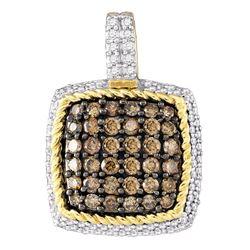 0.80 CTWCognac-brown Color Diamond Square Cluster Pendant 10KT Yellow Gold - REF-41X9Y
