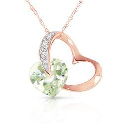 Genuine 3.35 ctw Amethyst & Diamond Necklace Jewelry 14KT Rose Gold - REF-49Z8N