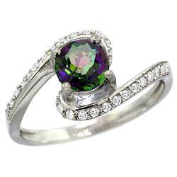 Natural 1.24 ctw mystic-topaz & Diamond Engagement Ring 14K White Gold - REF-52Y6X