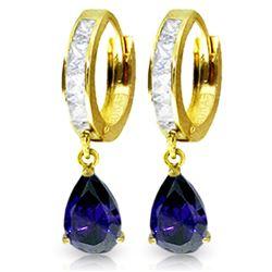 Genuine 4.55 ctw White Topaz & Sapphire Earrings Jewelry 14KT Yellow Gold - REF-64M2T