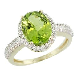 Natural 2.56 ctw Peridot & Diamond Engagement Ring 14K Yellow Gold - REF-46Z6Y