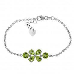 Genuine 3.15 ctw Peridot Bracelet Jewelry 14KT White Gold - REF-56K4V