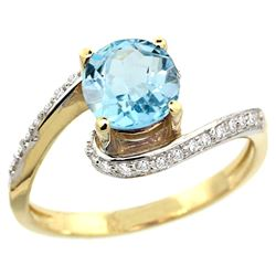 Natural 1.21 ctw blue-topaz & Diamond Engagement Ring 14K Yellow Gold - REF-50A3V