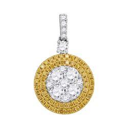 1.72 CTW Yellow Diamond Circle Cluster Dangle Pendant 18KT White Gold - REF-330F2N