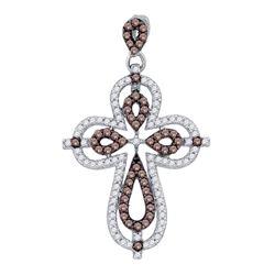 0.53 CTW Cognac-brown Color Diamond Cross Pendant 10KT White Gold - REF-30F2N
