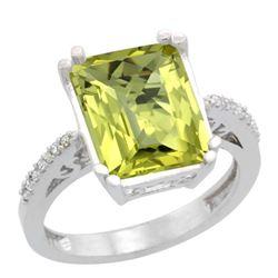 Natural 5.48 ctw Lemon-quartz & Diamond Engagement Ring 10K White Gold - REF-37H8W