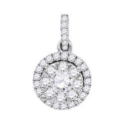 0.88 CTW Diamond Flower Cluster Pendant 14KT White Gold - REF-134M9H