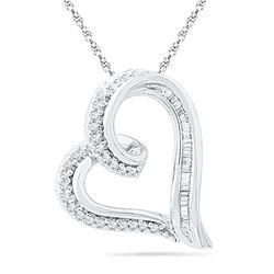 0.16 CTW Diamond Heart Outline Pendant 10KT White Gold - REF-16H4M