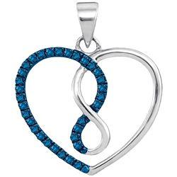0.13 CTW Blue Color Diamond Heart Infinity Pendant 10KT White Gold - REF-10K5W