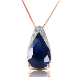 Genuine 4.65 ctw Sapphire Necklace Jewelry 14KT Rose Gold - REF-44X7M