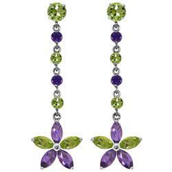 Genuine 4.8 ctw Peridot & Amethyst Earrings Jewelry 14KT White Gold - REF-56F8Z